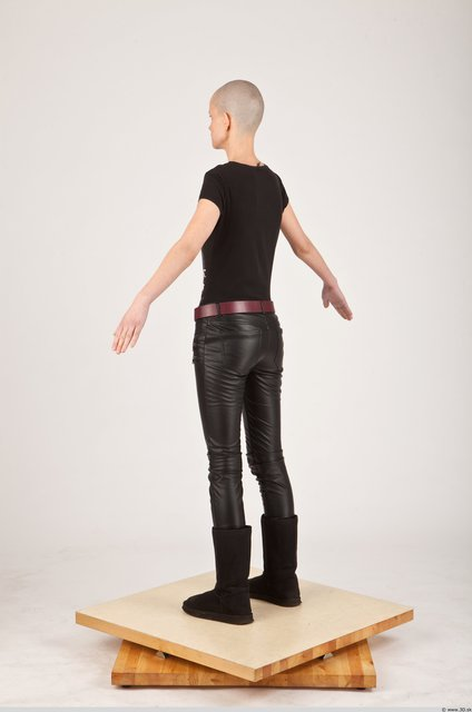 Whole Body Woman White Casual Slim Bald Photo textures